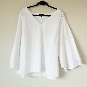 Lane Bryant crisp cotton dramatic bell sleeve